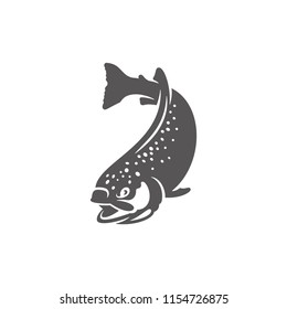 Salmon fish icon isolated on white background vector illustration. Seafood vector graphic silhouette.