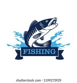 salmon fish logo. fish fishing emblem for sport club.