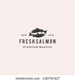 salmon fish logo seafood retro hipster vintage label badge vector sticker download