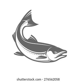 Salmon fish in retro style isolated on white background, such a logo or mascot, vector illustration