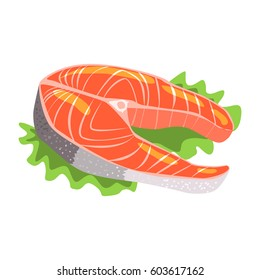 Salmon Fish Steak, Food Item Rich In Proteins, Important Element Of The Healthy Balanced Diet Vector Illustration