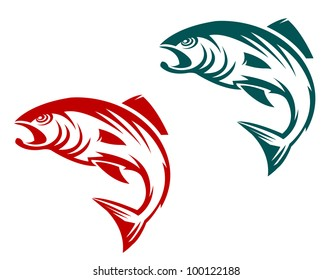 Salmon fish in two variations for fishing sports mascot, such  a logo. Jpeg version also available in gallery