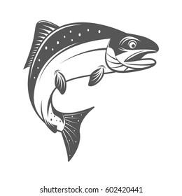 Salmon fish vector illustration in monochrome vintage style. Design element for logo, label, emblem.