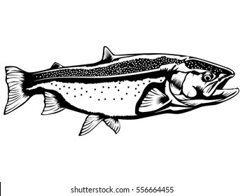 Salmon fishing emblem isolated on white vector illustration