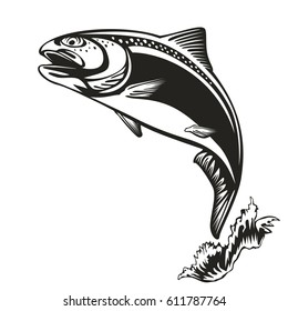 Salmon fishing emblem isolated on white vector illustration. Trout sport club logo.