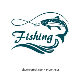 salmon fishing emblem with waves and hook