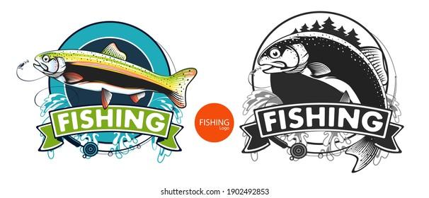 Salmon fishing  logo. Rainbow trout fish club emblem. Fishing theme illustration. Isolated on white.