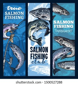 Salmon fishing, sport club or tournament. Vector fishery gear, rods and fish catched on hook. Fisherman spinning, pink salmon sketch. Humpback fish, underwater animal