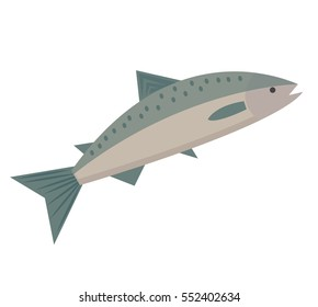 Salmon icon flat style. Saltwater fish isolated on white background. Vector illustration, clip art
