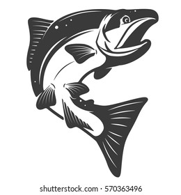 Salmon icon isolated on white background. Seafood. Design elements for menu, poster, emblem, sign. Vector monochrome illustration