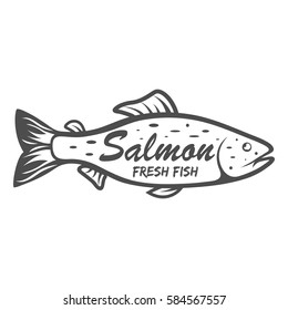 Salmon icon . Saltwater fish isolated on white background. Vector illustration, clip art