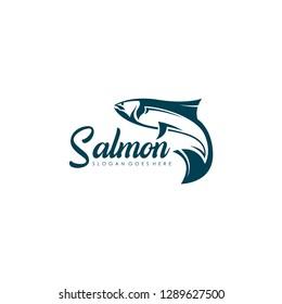 Salmon logo template. Fish logo vector. Fresh fish logo concept. Animal logo vector