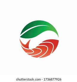 salmon meat vector logo, seaweed logo design
