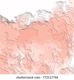 salmon pink abstract 3D pattern with embossed curved areas in different shades on white background, vector illustration