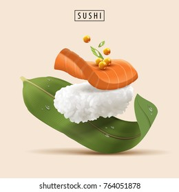 Salmon refreshing sushi with raw fish and fish roe in 3d illustration