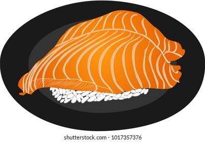 Salmon and rice sushi