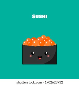 Salmon roe sushi. Nori seaweed sushi rolls cute style. Sushi is a food in Japan. Sushi concept illustration.