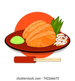 Salmon sashimi, raw fish in traditional Japanese style