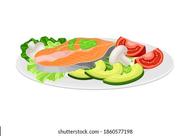 Salmon Steak with Leafy Vegetables as Seafood Dish Vector Illustration