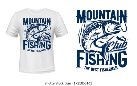 Salmon or trout fish print t-shirt mockup, fishing sport club. Vector. Fisher sport club big fish catch salmon on hook in ocean wave. Mountain river or lake fishing, hobby and leisure apparel print