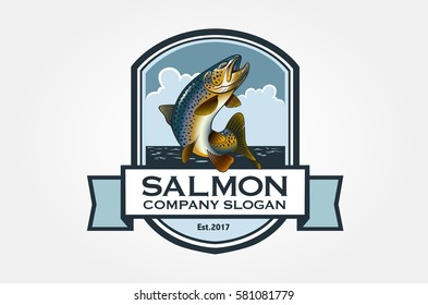Salmon Vector Logo Illustration. Logo with salmon in emblem style. Vector vintage fish for your logo design.