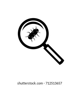 Salmonella black icon with magnifying glass test concept
