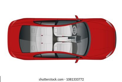 Salon Car sedan view from above, vector illustration