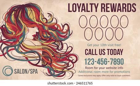 Salon customer loyalty card showing beautiful woman with long colorful hair