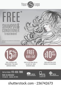 Salon flyer template with discount coupons and advertisement showing beautiful woman with long hair in black and white