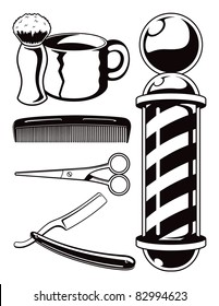 Salon Haircut and Barbershop Elements Cartoon Vector Graphic Set