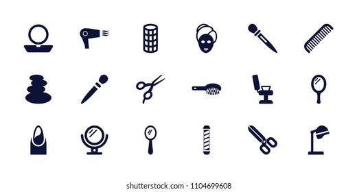 Salon icon. collection of 18 salon filled icons such as mirror, comb, hair brush, barber scissors, barber chair, spa stones, nail. editable salon icons for web and mobile.