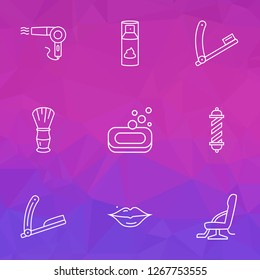 Salon icons line style set with razor blade, soap, lips and other shaver elements. Isolated vector illustration salon icons.