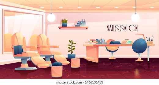 Salon for manicure, pedicure nails care beauty procedures, empty studio interior with furniture and appliances, table, transforming armchair, lamp and nail polishes palette Cartoon vector illustration