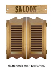 Saloon doors and signboard above. Design image elements isolatted on white.