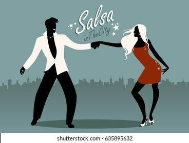 Salsa in the City. Silhouettes of young couple dancing latin music: salsa, merengue, bachata,