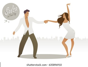 Salsa in the City. Young couple dancing latin music: salsa, merengue, bachata…
