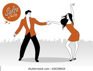 Salsa in the City. Young couple dancing latin music: salsa, merengue, bachata, ...