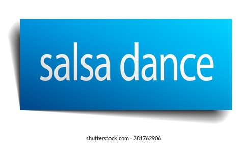 salsa dance blue paper sign isolated on white