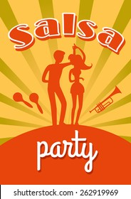 Salsa dance party vector poster