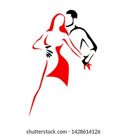 Salsa dance school or festival logo. Couple dancing latin music