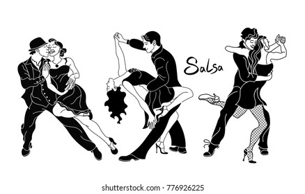 Salsa dance vector.Set of elegant couple dancing salsa.Retro style. Black Silhouettes of people dancing salsa and latin music.Cuba club. Couple dancing salsa. latino dance.dance couple silhouette