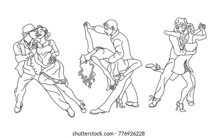 Salsa dance vector.Set of elegant couple dancing salsa.Retro style.Outline silhouettes of people dancing salsa and musicians playing latin music.Cuba club.Couple dancing salsa. latino music
