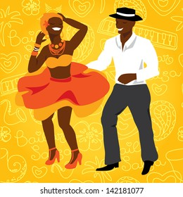 Salsa dancers. Cuban couple dance salsa. Vector modern illustration and design element