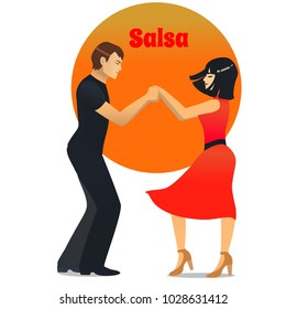Salsa Dancers. Dancing Couple in Cartoon Style for Fliers Posters Banners Prints of Dance School and Studio. Vector Illustration