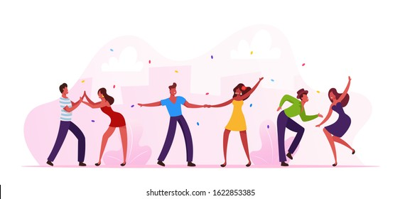 Salsa Dancers Male and Female Characters in Colorful Costumes Having Fun at Brazilian Dance Club Party or Carnival. Latino Men and Women Wear Festive Dress Brazil Dancing Cartoon Vector Illustration