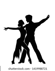 Salsa dancers silhouettes, isolated and grouped objects over white background