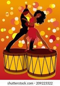 Salsa. Latin couple dancing on bongos
