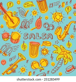 Salsa music and dance colored illustration with musical instruments with palms, etc. Vector modern and stylish design elements set. Seamless pattern