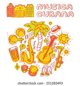 Salsa music and dance illustration with musical instruments with palms, etc. Vector modern and stylish design elements set