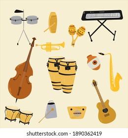 Salsa music musical instruments. Double bass, congas, bongos, guitar, cuban tres, clave, Botijuela, maracas, piano, contrabass, timbales, guiro, trombone, trumpet